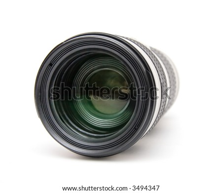 Camera telephoto lens front view. Isolated on white. - stock photo