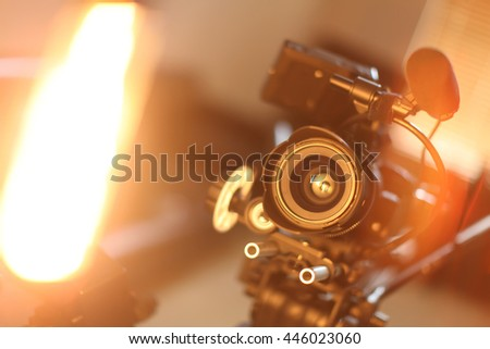 Camera with different devices - stock photo