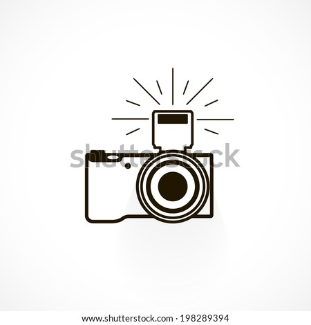 Camera with Flash, icon isolated on a white background for your design - stock photo