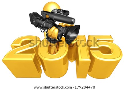 Cameraman Coming Out Of Year - stock photo