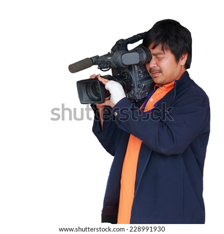 cameraman isolate white background - stock photo