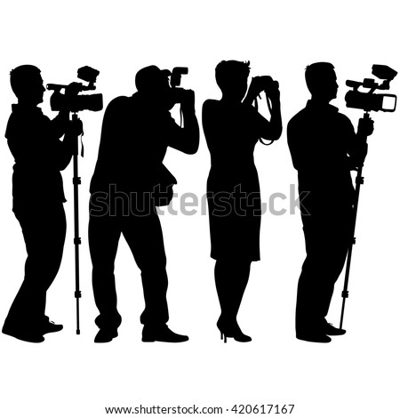 Cameraman with video camera. Silhouettes on white background. illustration.