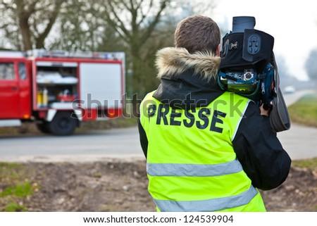 Cameramen - PRESSE (german) - stock photo