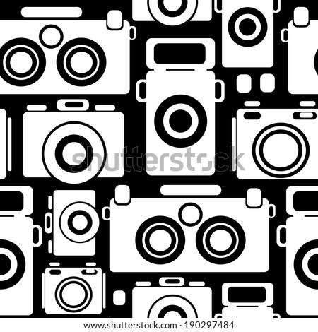 cameras icons seamless pattern - stock photo
