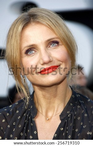 """Cameron Diaz at the Los Angeles premiere of """"Sex Tape"""" held at the Westwood Regency Theatre in Los Angeles, United States, 10/07/14.  - stock photo"""