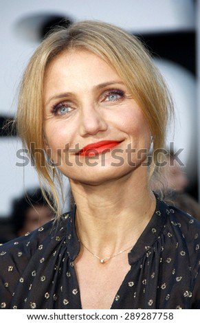 """Cameron Diaz at the Los Angeles premiere of """"Sex Tape"""" held at the Westwood Regency Theatre in Los Angeles, United States, 10-07-14.  - stock photo"""