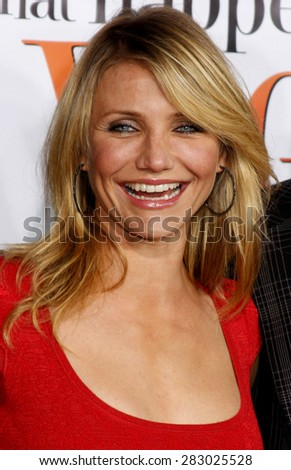 """Cameron Diaz attends the World Premiere of """"What Happens in Vegas"""" held at the Mann Village Theater in Westwood, California, United States on May 1, 2008. - stock photo"""
