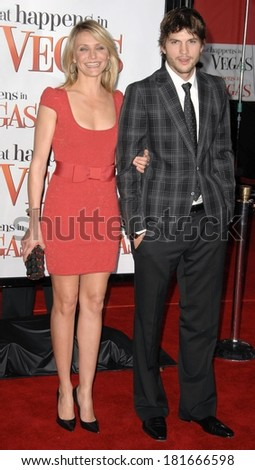 Cameron Diaz, in a Zac Posen dress, Ashton Kutcher, in Gucci, at LA Premiere of WHAT HAPPENS IN VEGAS, Mann's Village Theatre in Westwood, Los Angeles, May 01, 2008 - stock photo