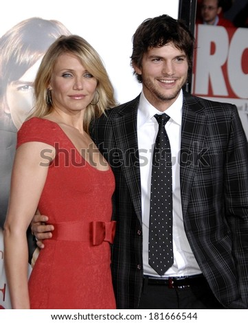 Cameron Diaz, in a Zac Posen dress, Ashton Kutcher, in Gucci, at Premiere of WHAT HAPPENS IN VEGAS, Mann's Village Theatre in Westwood, Los Angeles, May 01, 2008 - stock photo