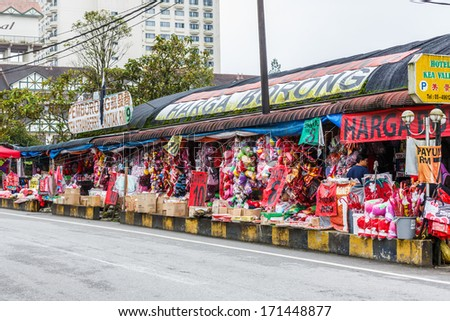 CAMERON HIGHLAND, MALAYSIA - DECEMBER 20: Tourists shop in the local market on Dec 20, 13 in Cameron Highlands. Cameron Highlands is one of Malaysia's most popular tourist destinations.
