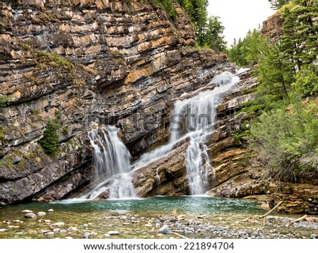Cameron Water Fall, Waterton National Park, Alberta, Canada - stock photo