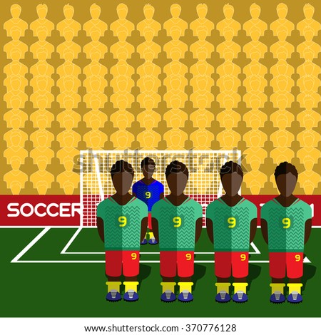 Cameroon Football Club Soccer Players Silhouettes. Computer game Soccer team players big set. Sports infographic. Football Teams in Flat Style. Goalkeeper Standing in a Goal. - stock photo
