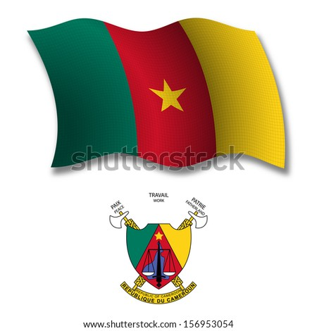 cameroon shadowed textured wavy flag and coat of arms against white background,  art illustration - stock photo