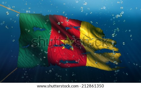 Cameroon Under Water Sea Flag National Torn Bubble 3D - stock photo