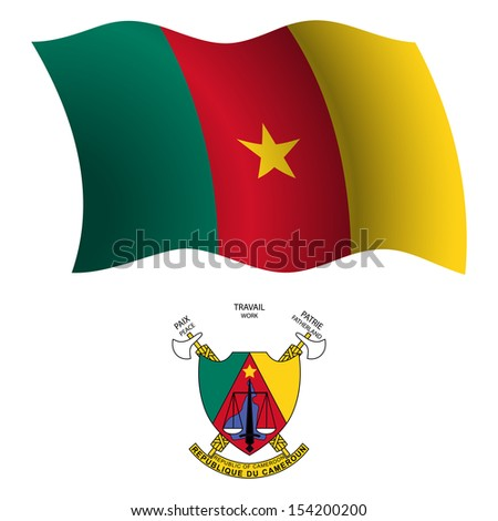 cameroon wavy flag and coat of arms against white background, art illustration - stock photo