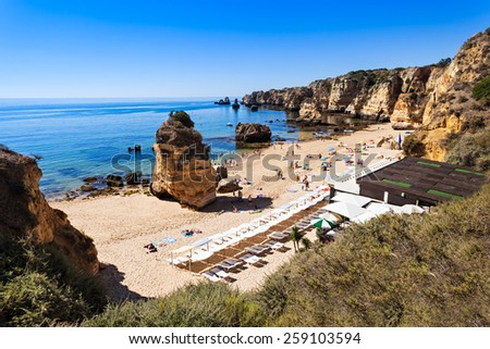 Camilo Beach in Lagos, Algarve region in Portugal - stock photo