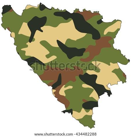 Camo texture in map - Bosnia & Herzegovina - stock photo