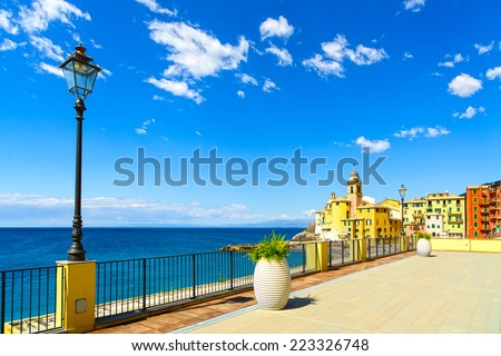Camogli old church on sea, lamp and terrace. Travel destination in Ligury, Italy. - stock photo