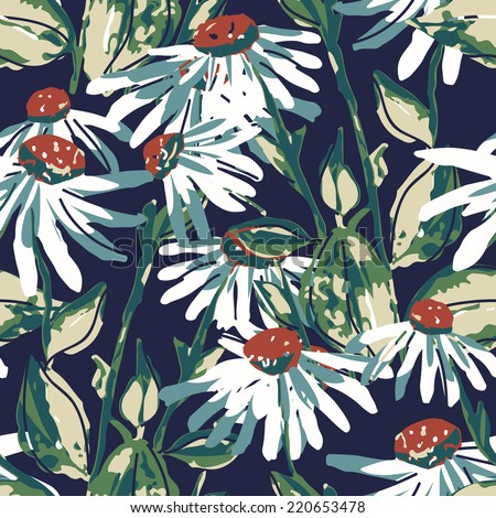 Camomile seamless pattern - stock photo