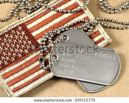 Camouflage American flag with dog tags - stock photo