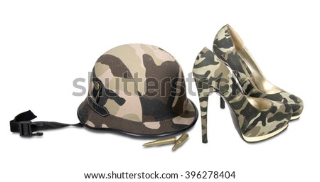 camouflage helmet and camouflage heeled shoes on white background
