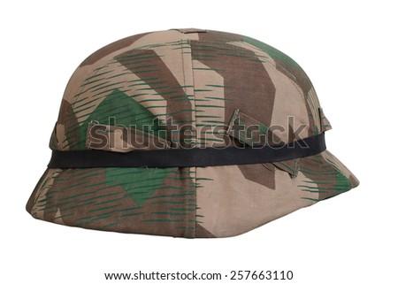 camouflage helmet Nazi Germany  - stock photo