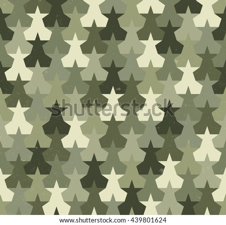 Camouflage seamless pattern with abstract stars shapes. Military background. Raster version - stock photo