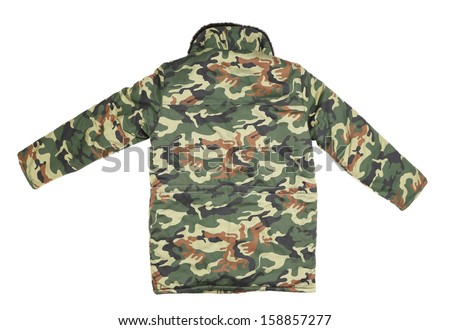 Camouflage winter jacket. Back view. Isolated on a white background