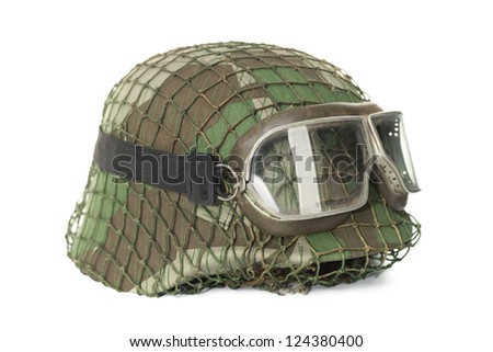 camouflaged helmet with protective goggles isolated on white background - stock photo