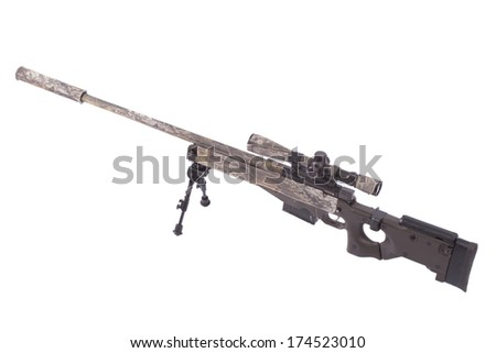 camouflaged modern sniper rifle with scope - stock photo