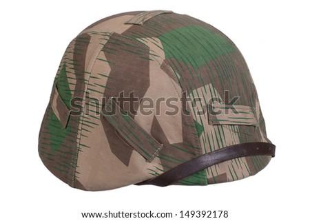 camouflaged nazi german helmet  - stock photo