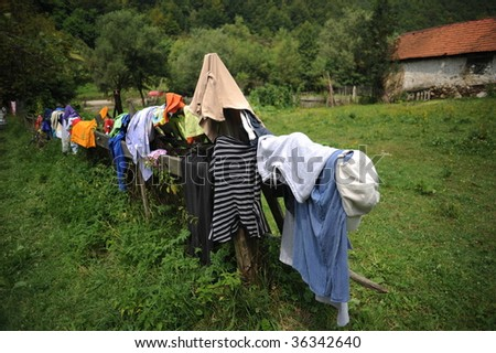 Camp clothesline - stock photo