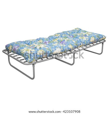 camp cot with matress - stock photo