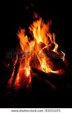 Camp fire built outdoors. - stock photo