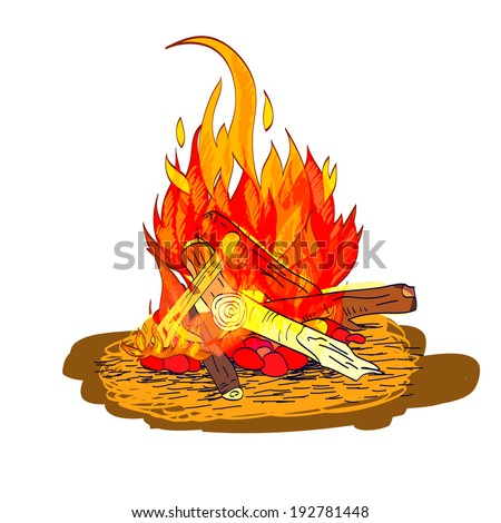 Camp fire flame burn with fireplace wood and stones sketch isolated emblem  illustration - stock photo