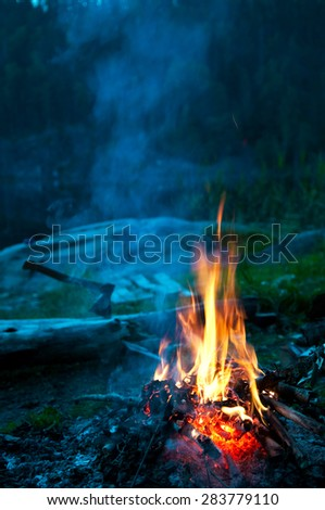 Camp fire on the river bank, vertical - stock photo