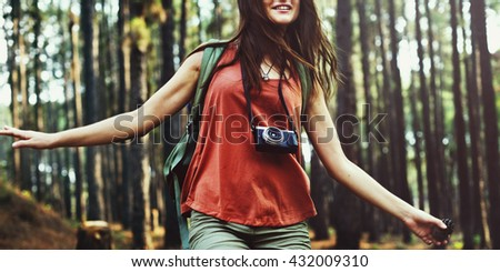 Camp Forest Adventure Travel Remote Relax Concept - stock photo
