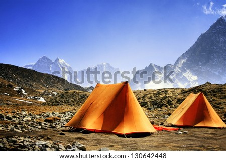 Camp ground in the Himalayas - stock photo
