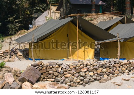 Camp on the banks of the Ganges River. Uttarakhand, India.