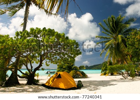 Camp on the paradise tropical beach, Maupiti, French Polynesia