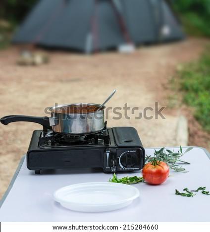 camp pasta - stock photo
