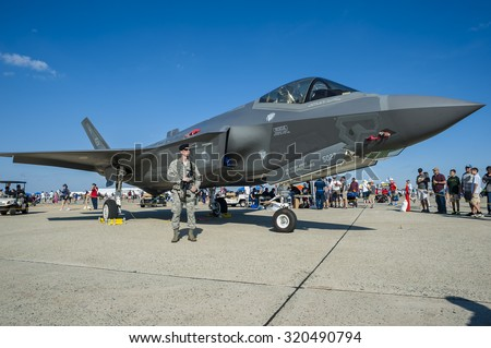 CAMP SPRINGS, MD, USA - SEPTEMBER 19, 2015: Visitors could check out the F-35 Lightning II during the 2015 Joint Base Andrews Air Show held at Joint Base Andrews in Camp Springs Maryland. - stock photo