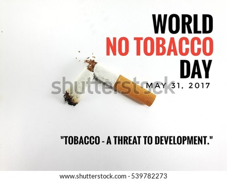 Campaign World No Tobacco Day Illustration Concept with broken cigarette. Great for poster, Card And Banner. Theme (Tobacco â?? a threat to development).