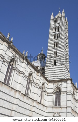 Campanile (Bell Tower) of the Cathedral in Siena. Italy, Europe - stock photo