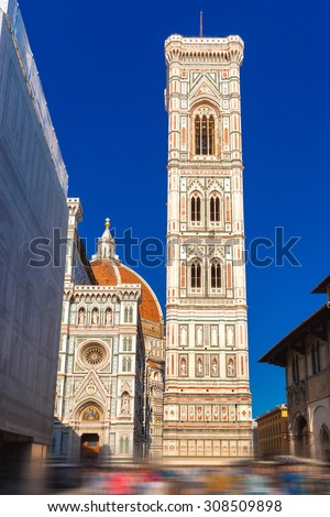Campanile di Giotto at evening in Florence, Tuscany, Italy. Apply motion blur effect. - stock photo