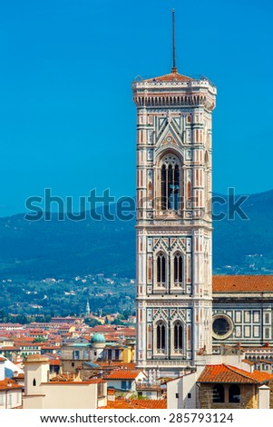 Campanile di Giotto at morning from Palazzo Vecchio in Florence, Tuscany, Italy - stock photo
