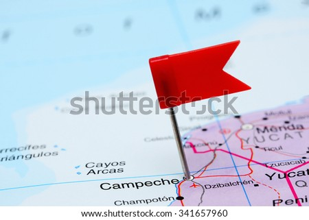 Campeche pinned on a map of Mexico  - stock photo