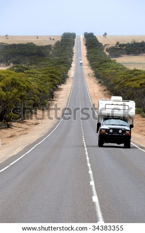 Camper at the Eyre Highway in South Australia - stock photo