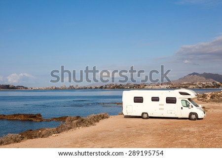 Camper at the mediterranean coast in Spain - stock photo