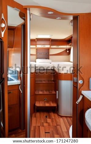 Camper (RV, motorhome, caravan) interior, vertical image  - stock photo